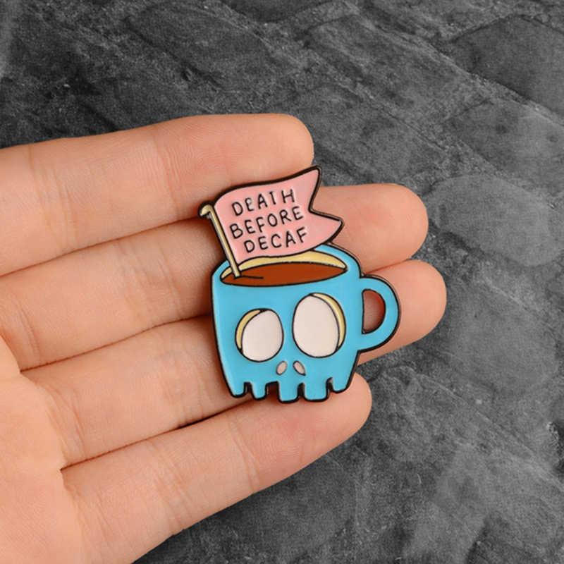海波エナメルピンブルーかわいい猫コーヒーカップのバッジブローチ氷山ティーポット電気自動車ラペルピン漫画の宝石類のギフト卸売