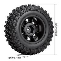 INJORA 4PCS 49*18mm Beadlock Micro Crawler Wheel Rims Tires Set for 1/24 RC Crawler Car Axial SCX24 90081 2