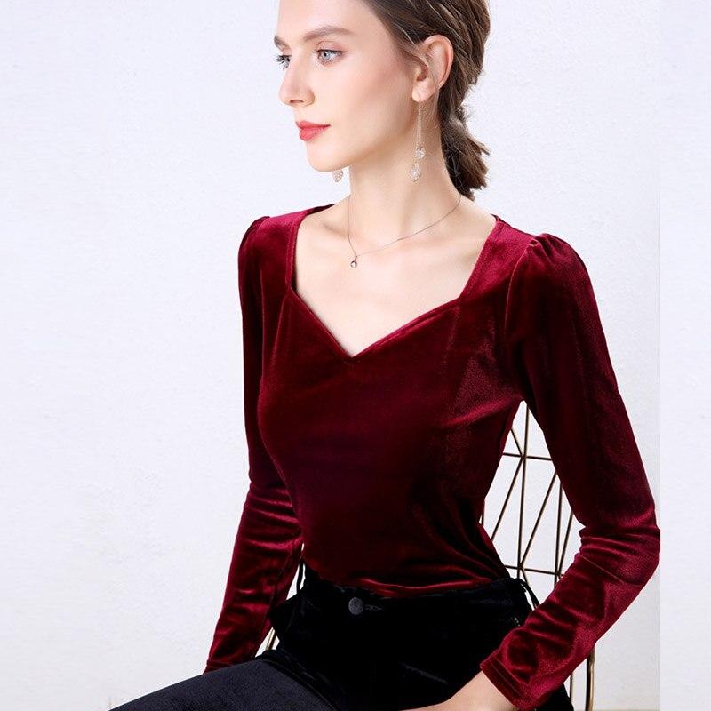 Женская бархатная блузка в стиле ретро, облегающая красная блузка с v образным вырезом и длинным рукавом, осень 2019 Блузки      АлиЭкспресс
