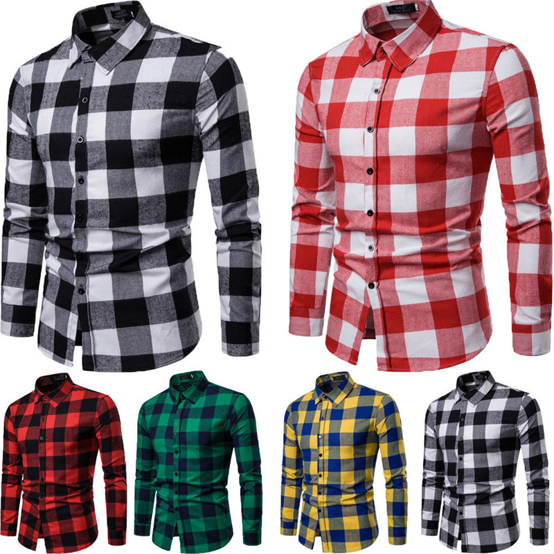 Spring New Mens Plaid Flannel Lumberjack Tartan Check Shirt Brushed Cotton Casual Shirts Fashion Streetwear