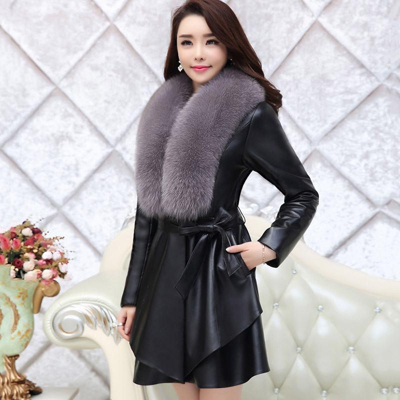 Women 2019 Winter Elegant Short Faux Fur Coat Female Imitation   Leather   Jacket Thick Warm PU   Leather   Outerwear Plus Size 4XL T125