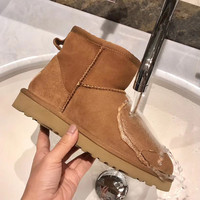 snow boots women waterproof Australia winter worm shoes Non slip rubber sole 100% genuine cowhide leather big size wholesale