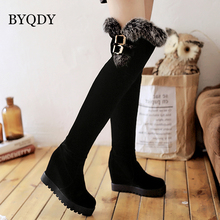 BYQDY Sexy Over The Knee Boots Women Faux Rabbit Round Toes Increasing Height Shoes Casual Dress Winter Boot Plus Size 43