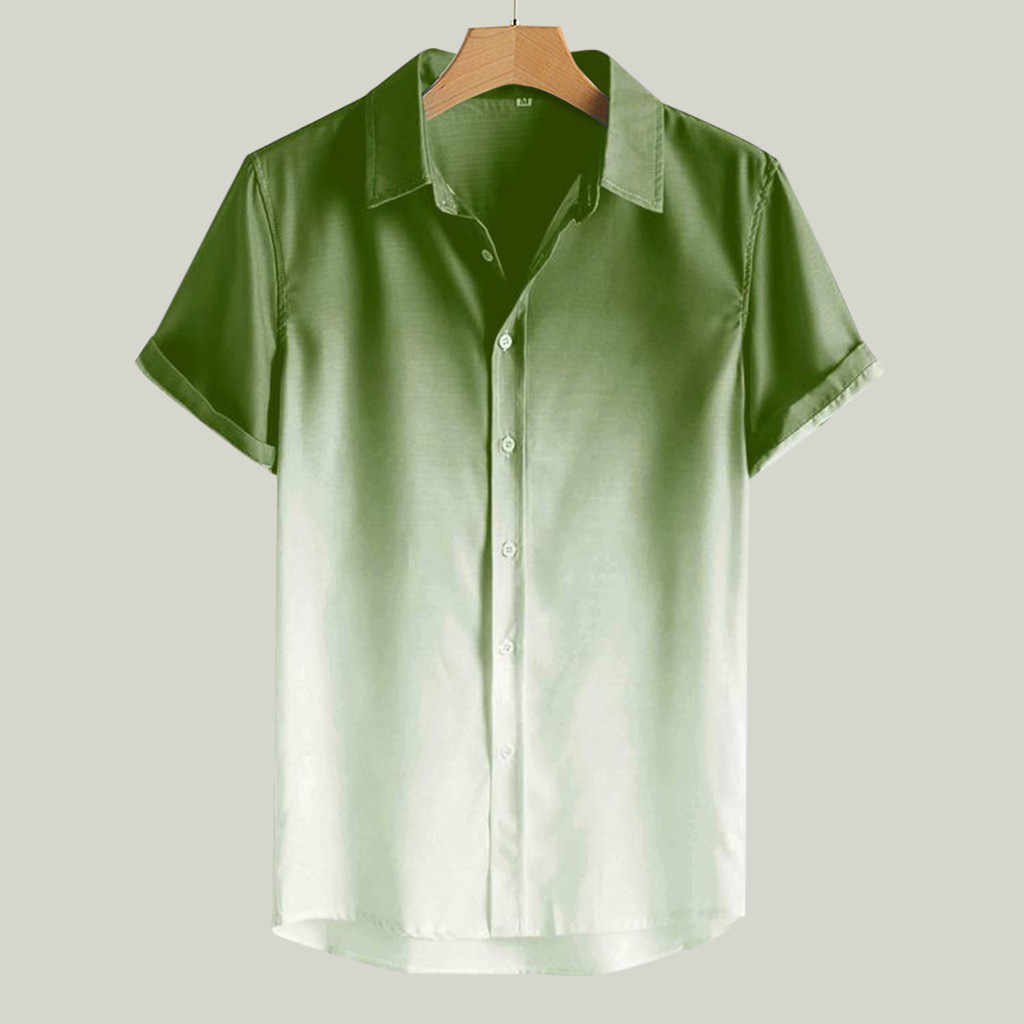 Mens Gradient Shirt Loose Fit Breathable Short Sleeve Button Shirt Turn-Down Collar Patchwork Summer Tops