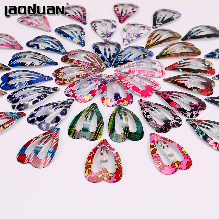 10PCS The New Love Heart Shape Hair Clips Girls Fashion Print Floral Colorful Hairpins Women Hairpin Hair Accessories