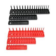 3/6 pçs conjunto 1/4 set 3/8 1/2 socket socket soquete organizador manga titular garagem ferramenta de armazenamento métrica sae plástico casa ferramenta rack bandeja organizador