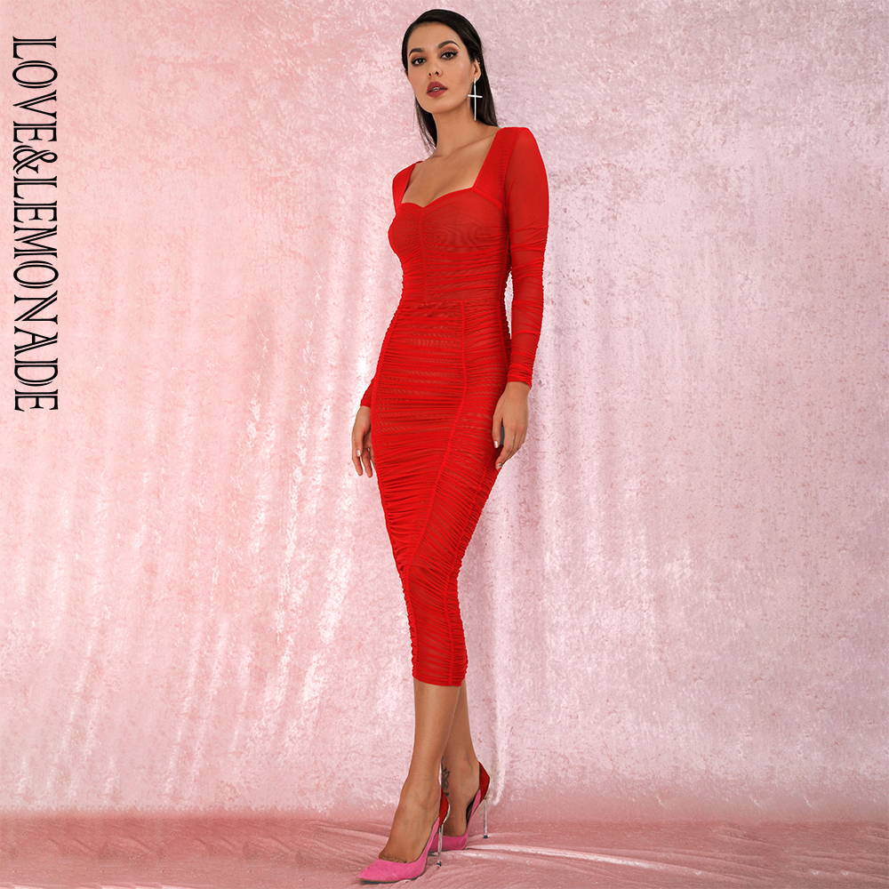 LOVE&LEMONADE Sexy Square Collar Red Elastic Mesh Slim Long Sleeve Over-The-Knee Party Dress (With Lining) LM81941-1