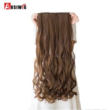 AOSIWIG 5 Clips auf Lockige Dicke Haarteil Clip in Haar Extensions Hitze Beständig Faser Synthetische Haar Party Cosplay Für Frauen