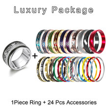 Cremo Gear Titanium Rings Set For Women Golden Stacked Stainless Steel Fidget Interchangeable Arctic Symphony Wedding Band