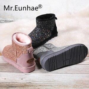 Image 2 - Bling paillettes tissu femmes étudiants bottes de neige dhiver chaud en peluche bottines Ugs bottes australie bottes en caoutchouc Anti glissant