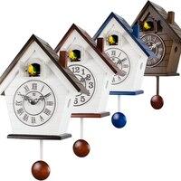 Vintage Pendulum Cuckoo Clock Wall Living Room Luxury Bird Music Garden Wall Watch Creative Bedroom Swing Reloj Loft Decor ZB6WC