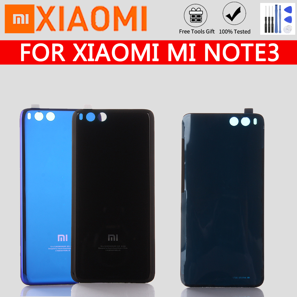 For Xiaomi Mi Note3 Battery Cover Official Tempered Glass Case For Xiaomi Note3 Mi Note 3 Back Battery Cover Housing Replacement