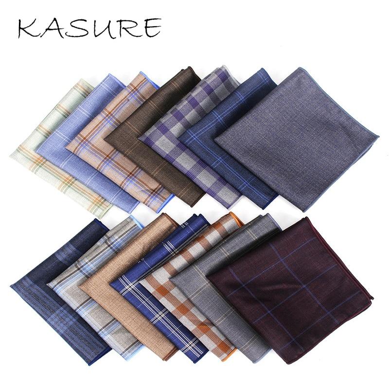 KASURE Square Plaid Stripe Handkerchiefs Men Classic Pocket Handkerchief Cotton Towel For Wedding Party Solid Gentlemen