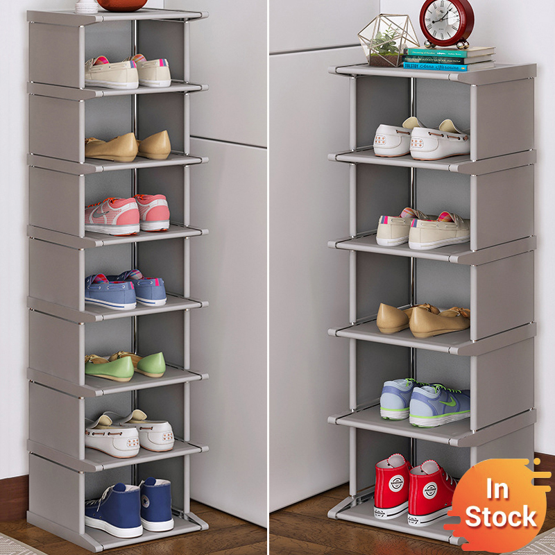 4 6 8 Layers Shoe Rack Vertical Dustproof Shoe Cabinet Plastic Steel Tube Assembled Corner Stand Holder Shoes Storage Shelf
