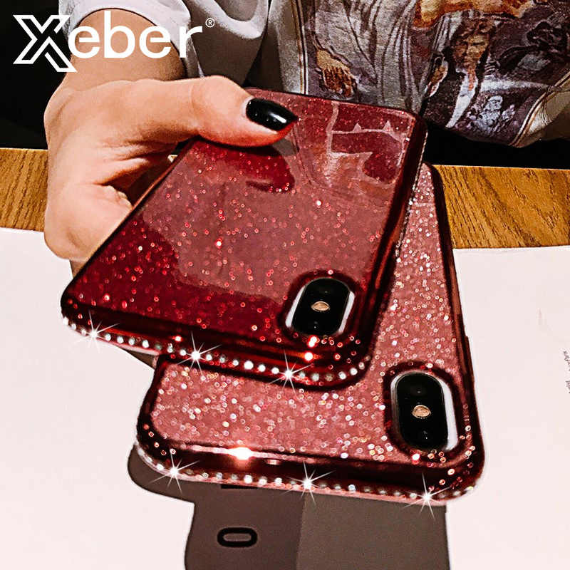 Custodia per telefono con strass Glitter Bling per iphone X XR XS Max 11 Pro Max custodia morbida in Silicone con diamante per iphone 6S 6 7 8 Plus custodie