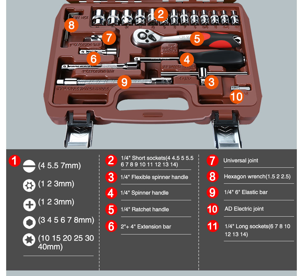 AI-ROAD Household Multifunction Car Repair Tool Kit Home with electric joint