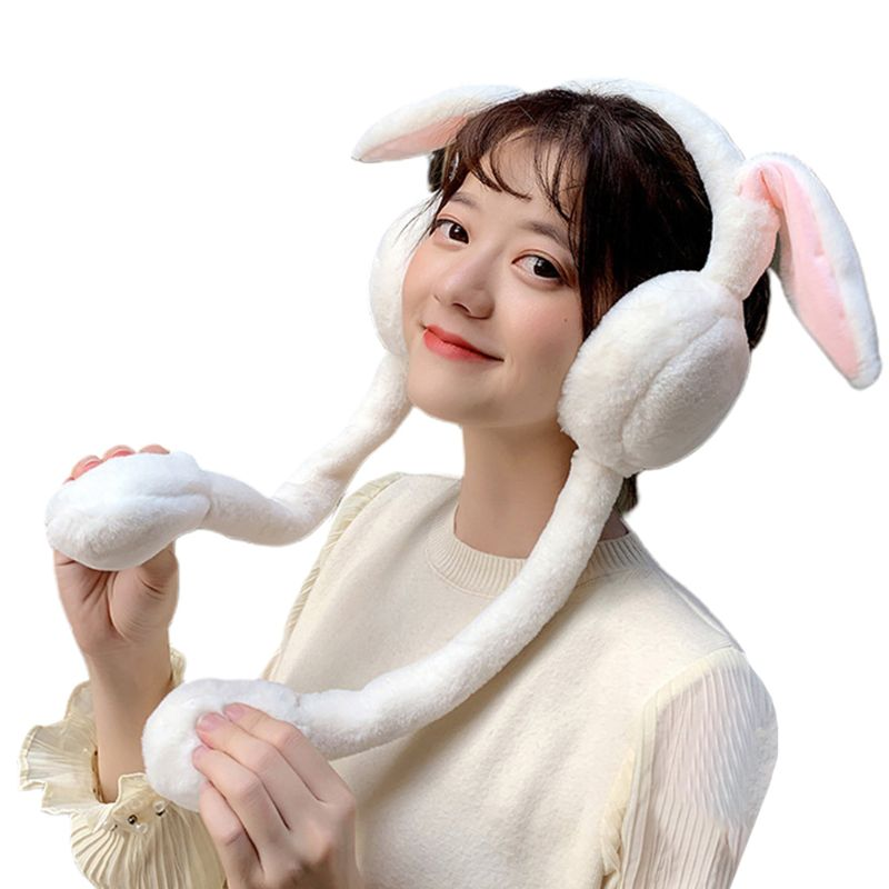 Winter Women Girl New Warm Rabbit Ears Movable Plush Earmuffs Cute Head Wear Warmer For Lady
