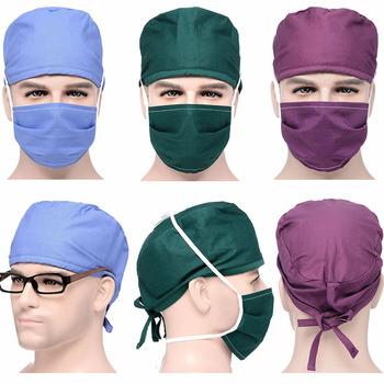 Kobiety mężczyźni Lab szpital peeling czapki kapelusze zestawy Unisex operacja chirurgiczne kapelusze pielęgniarka lekarz chirurgia czapki maski czapki bawełniane garnitury tanie i dobre opinie yufeida COTTON Poliester regular Akcesoria Medyczne Suknem