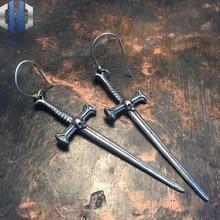 Original Handmade Sword Earrings 925 Sterling Silver Personalized DIY Long Pendant Skull Ear Hook