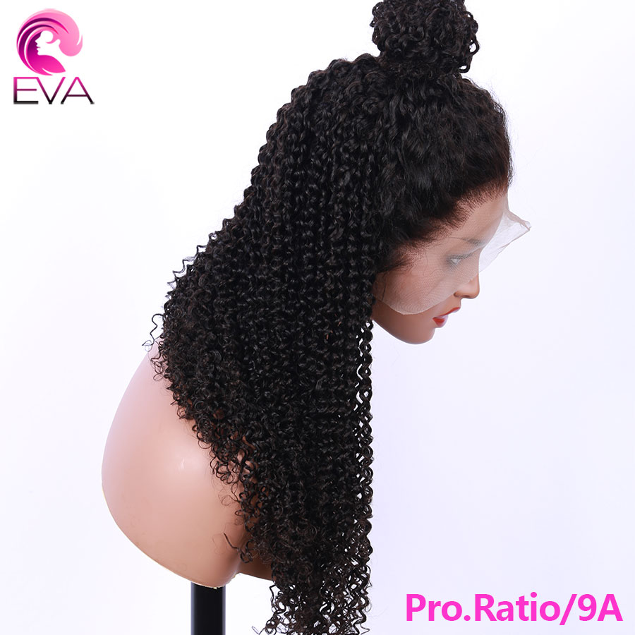 Eva Hair Kinky Curly Full Lace Human Hair Wigs For Black Women Pro.Ratio 150% Pre Plucked With Baby Hair Brazilian Remy Hair Wig