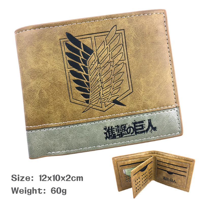 Attack On Titan Vitage Men Wallets Leather Wallet Money Bag Credit Card Case Wallet Clutch Purse For Boy Use Short Wallets