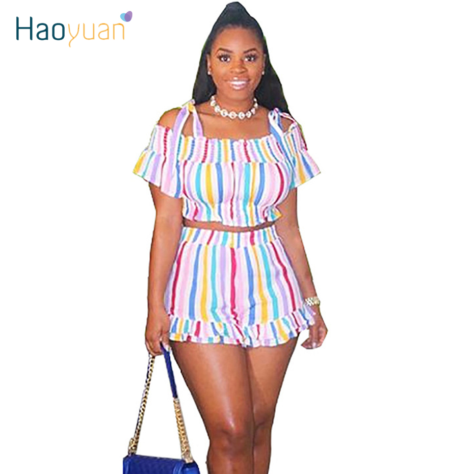 HAOYUAN Sexy Rainbow Striped Two Piece Set Women Summer Clothes Crop Top And Shorts Suit Birthday Club Outfits Matching Sets