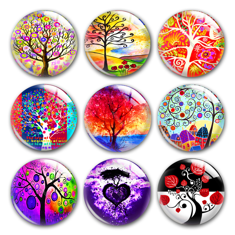 Hand Made Tree Of Life Round Photo Glass Cabochon Demo Flat Back, DIY Orecchini Accessories Hair Clip Jewellry Making Supplies.