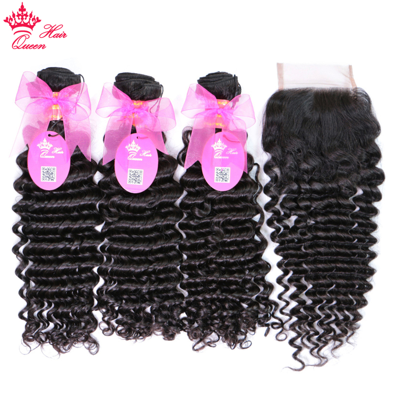 100% Human Brazilian Hair Deep Wave Bundles With Closure Weave Free Part Lace with remy hair Queen Products