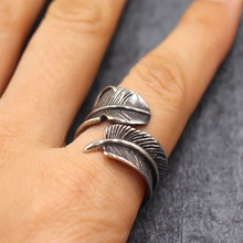 Vintage Style/Titanium Steel Ring/ Ring Retro Feather Jewelry Accesories for Men Punk Cool Gadgets Gift