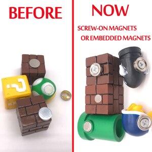 Image 2 - 63 sztuk 3D Super Mario magnesy na lodówkę żywiczną zabawki dla dzieci ozdoby do dekoracji domu figurki ścienne Mario magnes kule cegły