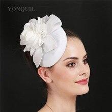 Белое украшение для волос в виде цветка шляпы свадебные головные уборы винтажная гонка серый Федора коктейльный Чай Вечерние шляпы для церкви заколки для волос аксессуары
