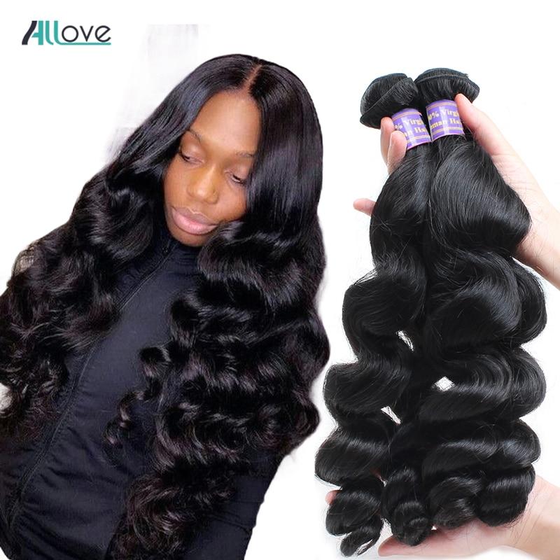 Малазийские волнистые пупряди волос Allove, 100% человеческие волосы, пучки, сделан, парик натурального цвета без Реми, пучки для наращивания вол...