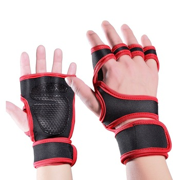 2pcs weight lifting straps over 2 3mm thick strong cotton gym padded hand bar grip with wrist support weight lifting gloves Men Women Gym Gloves with Wrist Support Antislip Weight Lifting Training Gloves Fitness Sports Body Building Hand Palm Protector