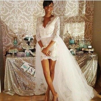 цена на Beach Mini Sheath Lace Wedding Dresses With Detachable Train Three Quarter Sleeves V Neck High Low Bridal Dress Cheap Boho Gown