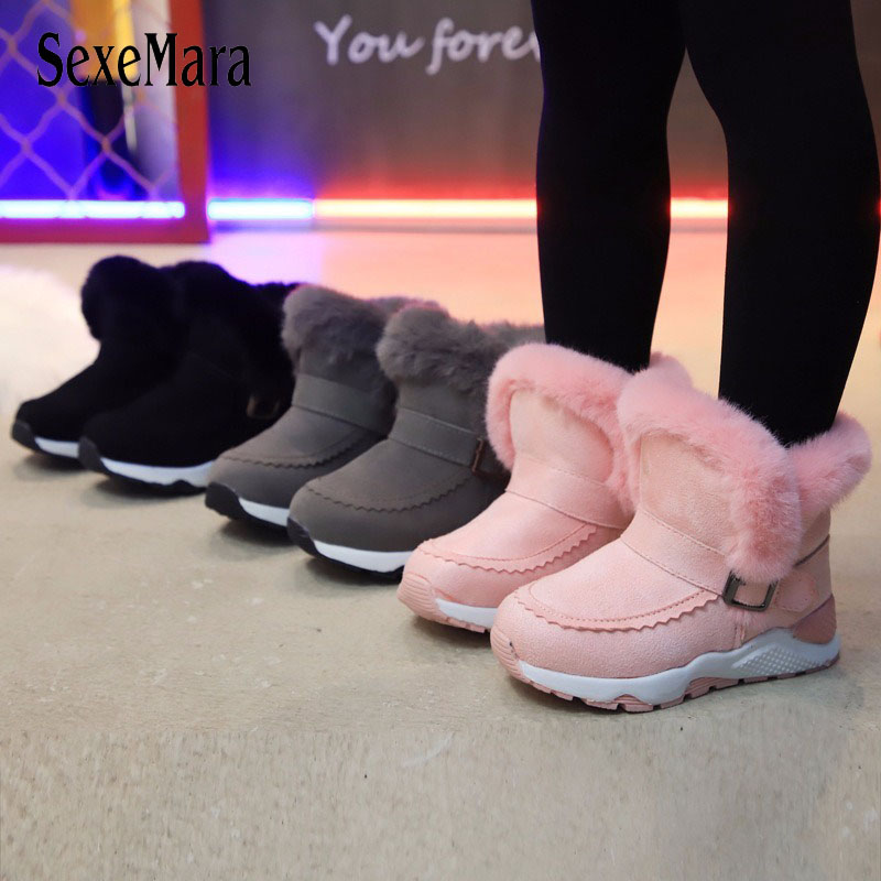 2019 Thick Winter Boots For Girls Top Quality Rabbit Hair Kids Snow Boots Boys Black Pink Gray Student Shoes Kids Sneaker C09301