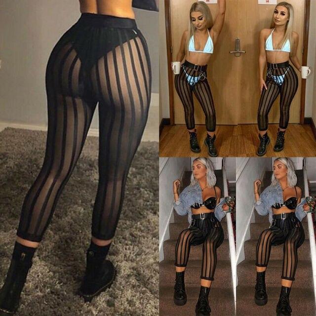 Hot Sexy Mesh Striped Leggings Women Striped Mesh Perspective Pants Knee Length Slim Trousers Club Wear 4