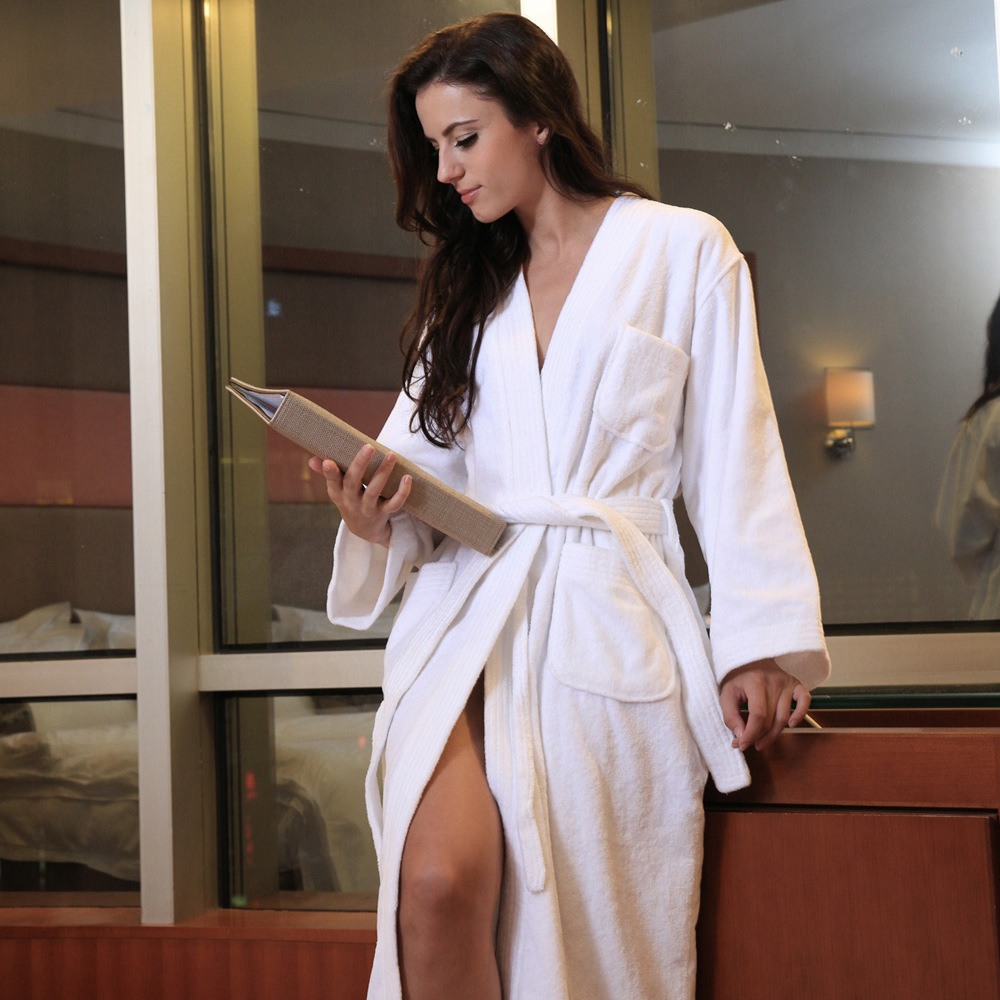 Women And Men Terry Star Grade Autumn And Winter Unisex Hotel Pure Cotton White Woven Breathable And Absorbent Bathrobe