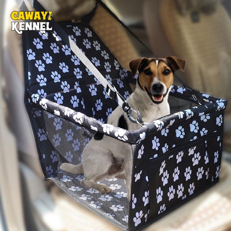 CAWAYI KENNELWaterproof baskı nefes takviye Pet araba koltuğu ön koltuk koruma kedi köpek katlanabilir taşınabilir taşıma