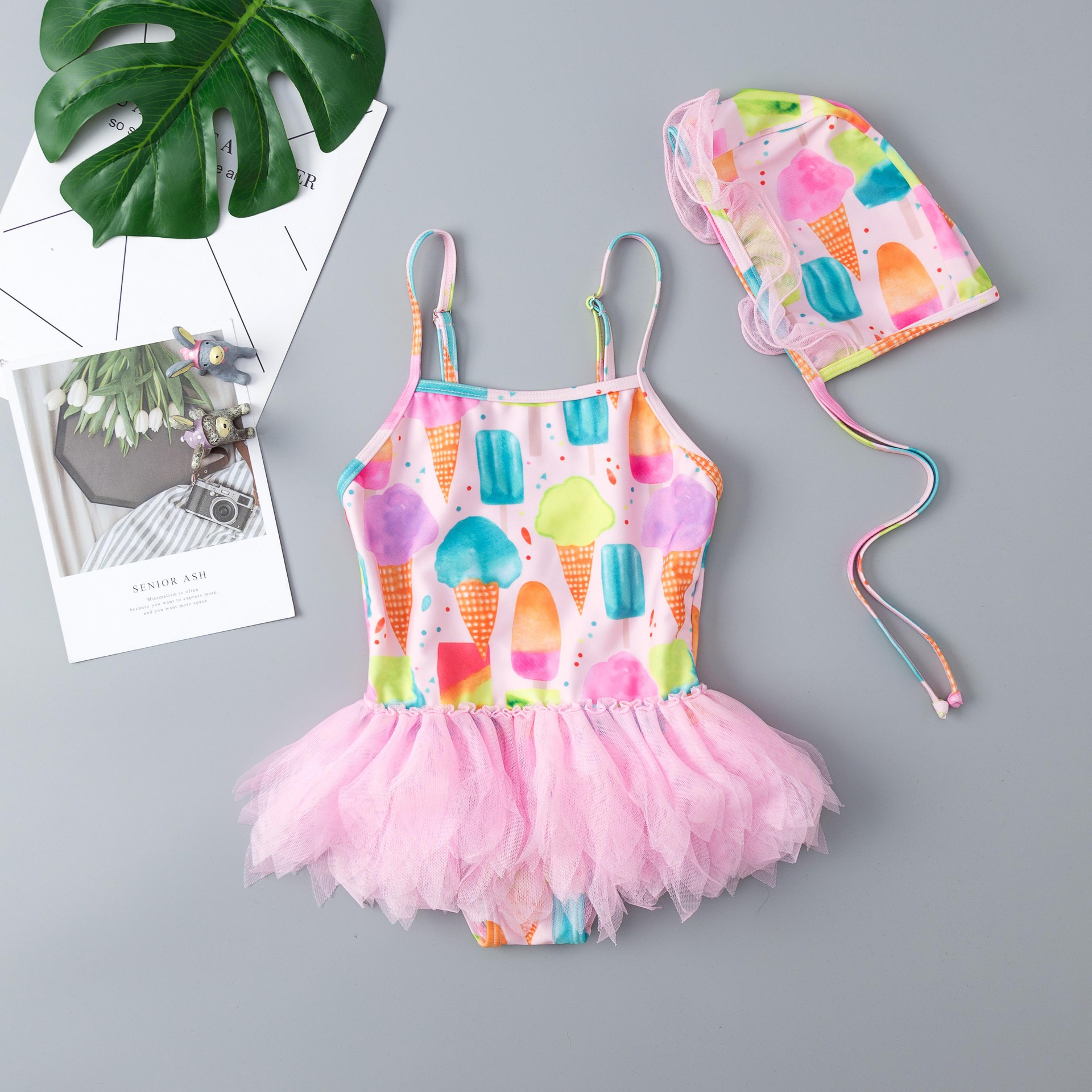 2019 New Style GIRL'S Swimsuit Cute CHILDREN'S Swimwear One-piece Set Children Ice Cream Lace Skirt Swimwear