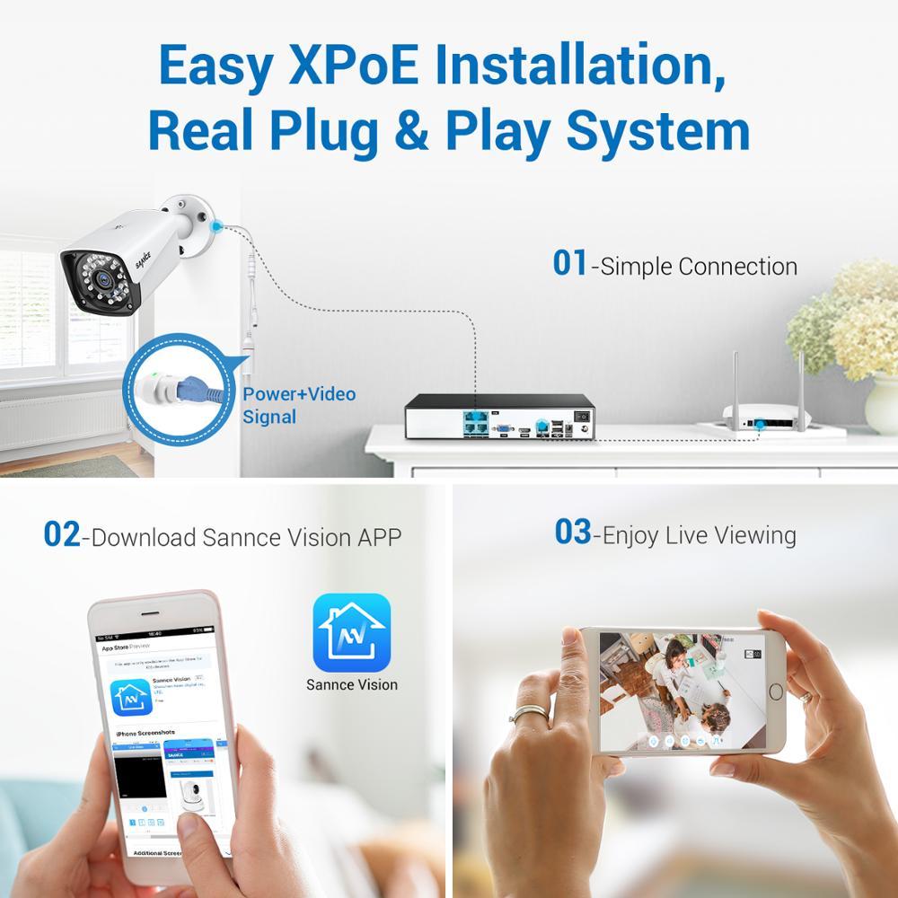 SANNCE 4CH HD 1080P XPOE CCTV Video NVR-system 4 STK 2MP POE - Säkerhet och skydd - Foto 3