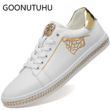 2019 style fashion men's shoes casual genuine leather male flats sneakers lace up white shoe man platform shoes for men hot sale цена
