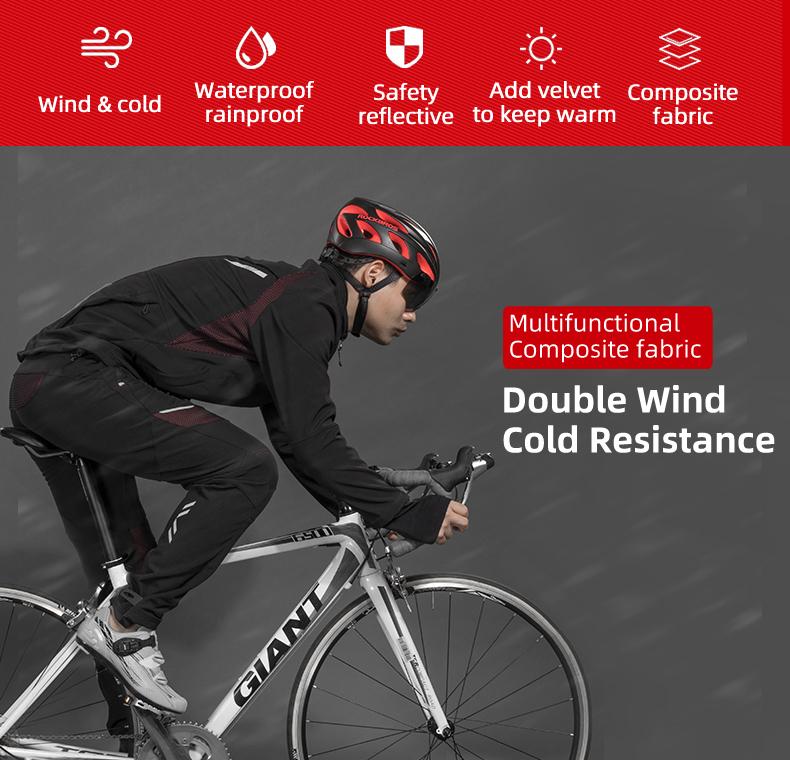 ROCKBROS Cycling Clothing Set Winter Thermal Fleece Pants Rainproof Windproof Reflective Cycling Jersey Set Men Women Sportswear