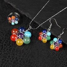 Natural 7 chakra pedra pingente de cristal reiki saúde amuleto colar pingente brinco artesanato pequena decoração jóias femininas