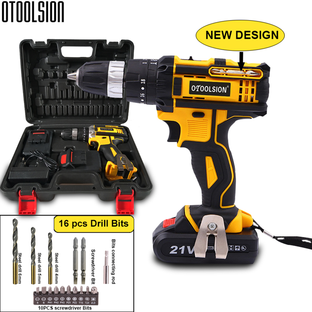 New Design 21V 45N m Multi-function Cordless Screwdriver Rechargeable Electric Screw Drill Mini Hand Drill Power Tools