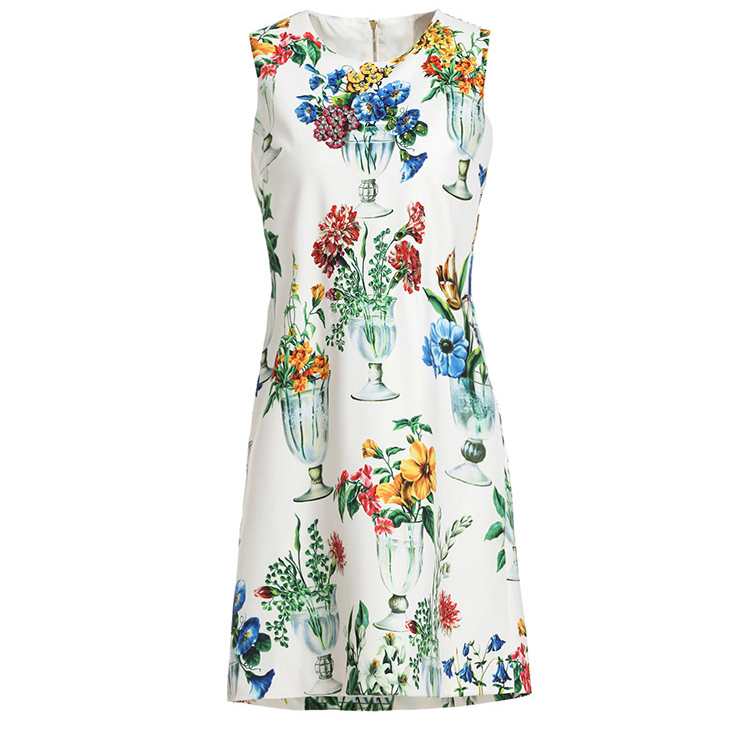 Baogarret Fashion Runway Summer Dress Womens Sleeveless Elegant White Floral Print Crystal Beading Casual Short Dresses