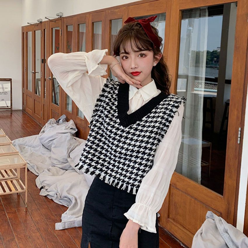 Spring Sweater Vest Women Vintage Houndstooth Plaid Knitted Crop Top Knit Sweater Coat Waistcoat Sleeveless Preppy Style Outwear