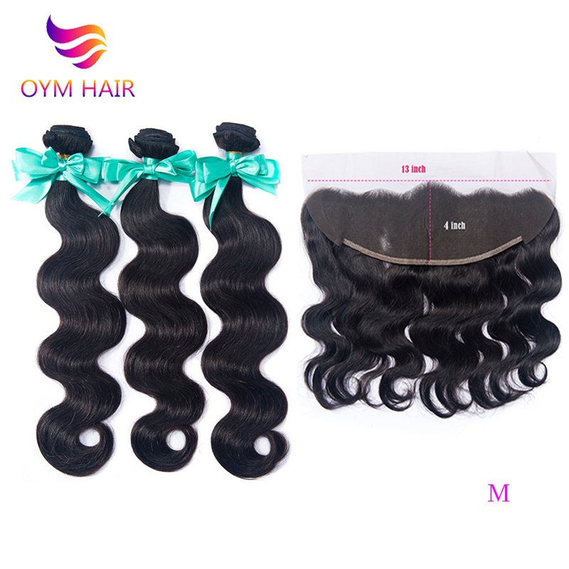 OYM HAIR Brazilian Hair Weave Body Wave Bundles With Frontal Non-Remy Human Hair Bundles With Closure Frontal Hair Extension