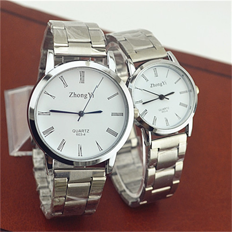 Lovers Couple Stainless Steel Watches Mens Women Fashion Roman Numerals Analog Quartz Wrist Watch Female Clock Woman