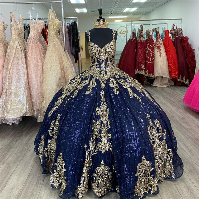 Dark Navy Ball Gown Quinceanera Dresses Sleeves Gold Lace Applique Sweet 16 Dress Party Wear Princess Dress Xv Años