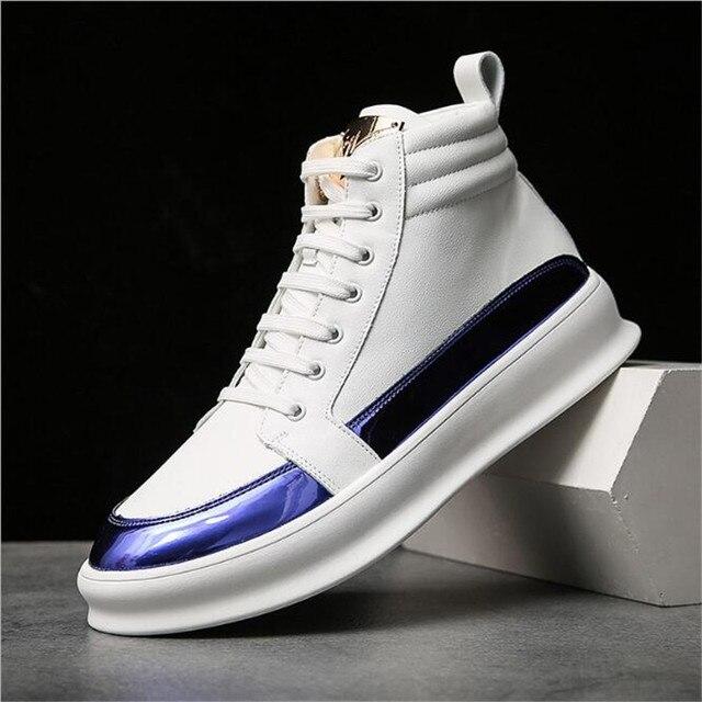 Zapatillas de deporte de lujo para hombre, zapatos altos informales de microfibra, botas de cuero, a la moda, primavera y otoño, novedad de 2020 4